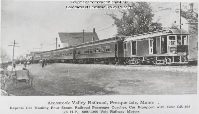 Aroostook Valley Railroad car #52, Presque Isle, ca. 1915