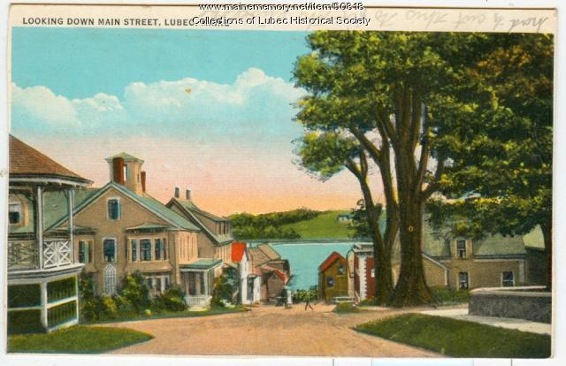 View down Main Street, Lubec, ca. 1930