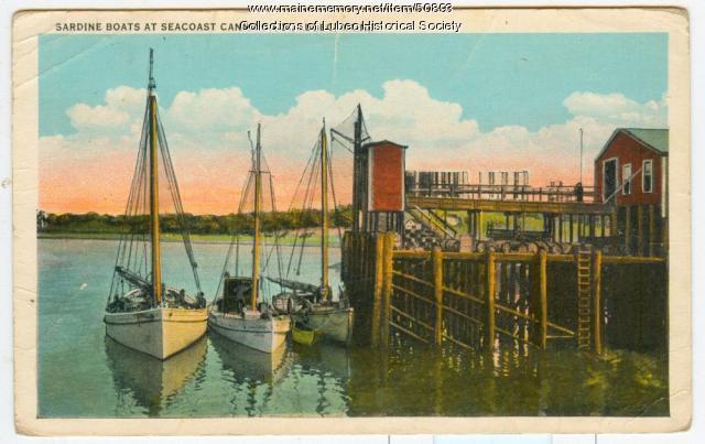 Sardine boats at Seacoast Canning Co., Lubec, ca. 1930