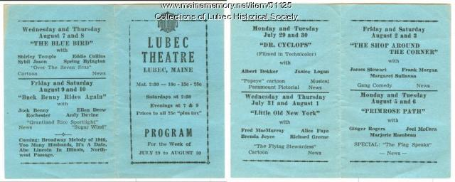 Theatre program advertising, Lubec, 1940