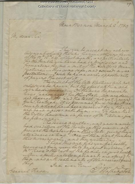 Washington letter to Henry Knox, 1789