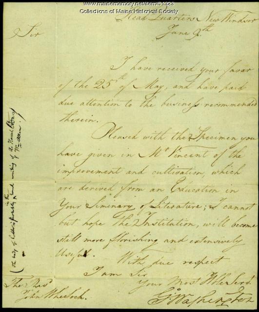 George Washington to John Wheelock, New York, 1781