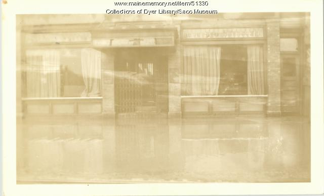 Saco-Biddeford Savings Bank during flood, Saco, 1936