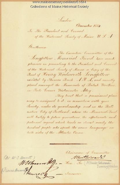 Longfellow bust gift, London, 1884