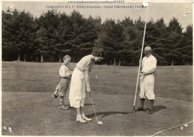 Girl playing golf, Fairfield, ca.1930