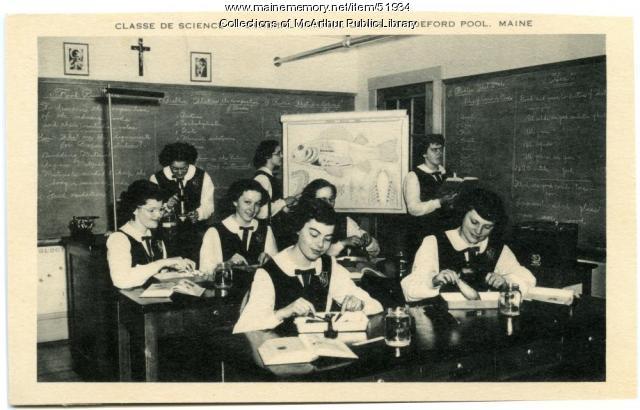 """Classe De Science"" at Marie-Joseph Academy, Biddeford Pool, ca. 1950"