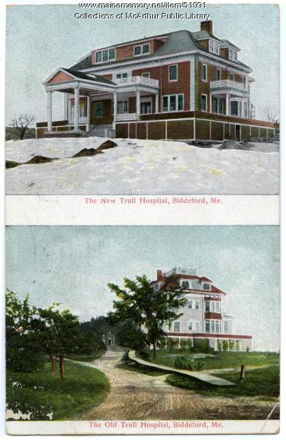"""New"" and ""old"" views of Trull Hospital, Biddeford, ca. 1910"