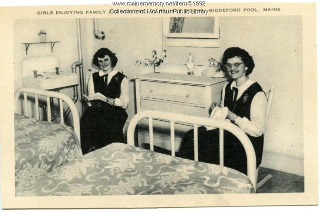 Dorm room at Marie-Joseph Academy, Biddeford Pool, ca. 1950