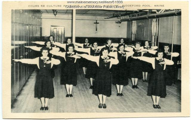 """Cours de Culture Physique"" at Marie-Joseph Academy, Biddeford Pool, ca. 1950"