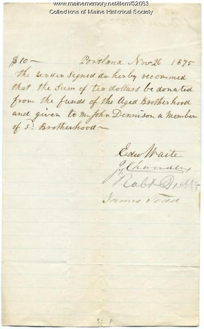 Aged Brotherhood payment recommendation, Portland, 1875
