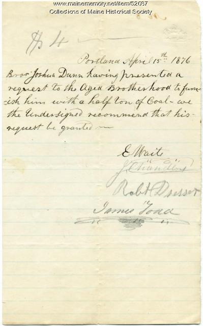 Request for help with coal, Portland, 1876
