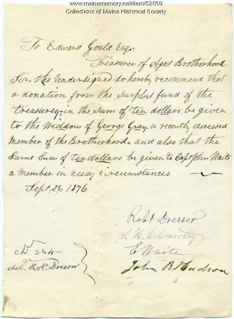 Request for funds for widow, Portland, 1876