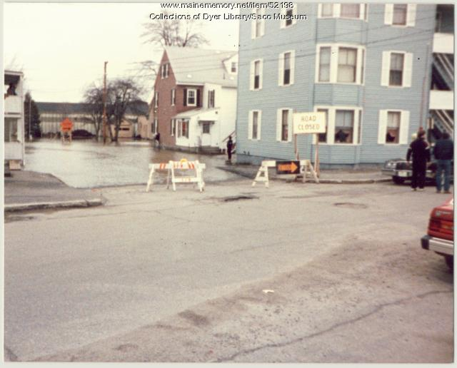 Maple Street flooded, Biddeford, 1987