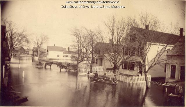 Flooded Main Street, Biddeford, ca. 1870