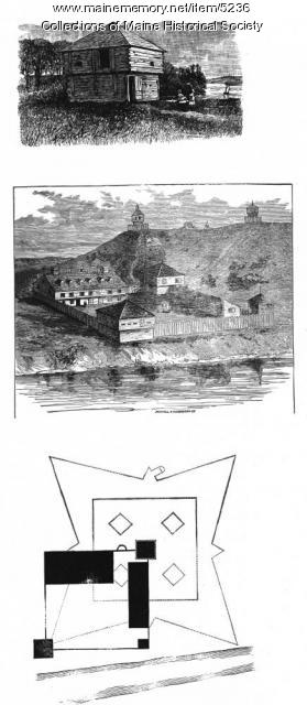 Sketches of Fort Halifax, three views, ca. 1875