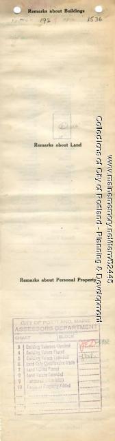 Assessor's Record, 69-75 Frances Street, Portland, 1924
