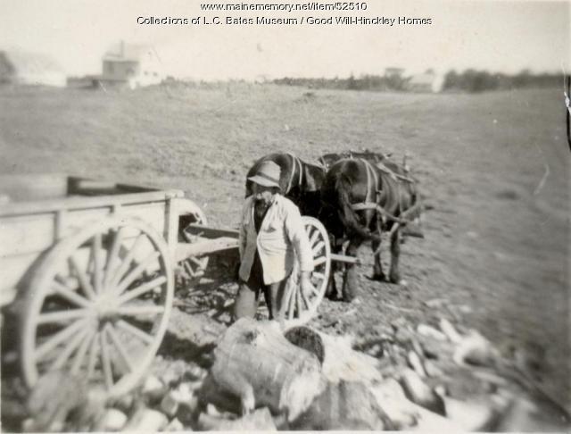Loading wood, Fairfield, ca. 1915