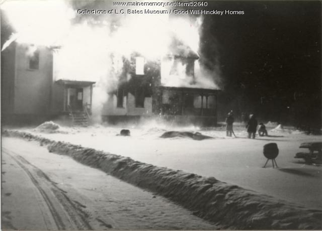 Grange Cottage on fire, Fairfield, 1987