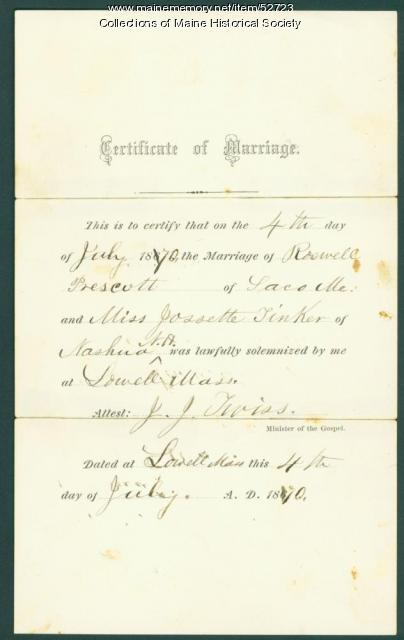 Prescott-Tinker marriage certificate, Lowell, Mass., 1870