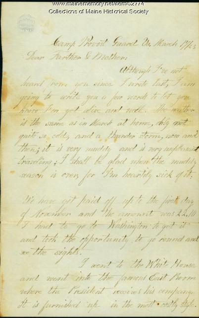Leonard Valentine letter from Virginia, 1863