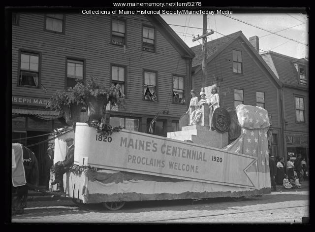 Maine Centennial Parade float, Portland, 1920