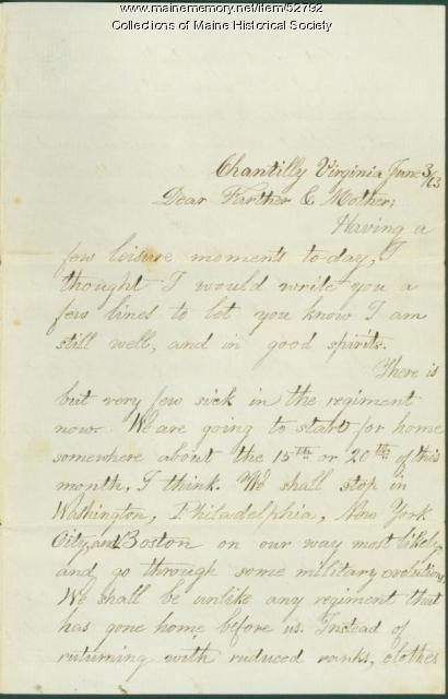 Leonard Valentine on end of enlistment, Virginia, 1863
