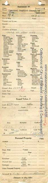 Assessor's Record, 142-146 Free Street, Portland, 1924