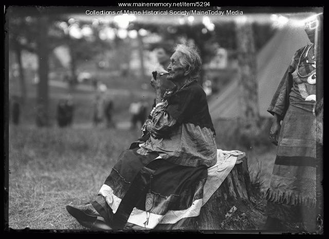 "Susan Neptune at the ""Indian Village"" during the Maine Centennial, Portland, 1920"