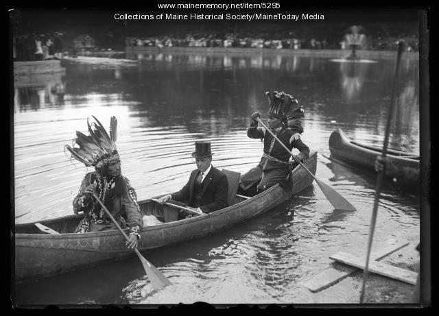 Horace Nicholas guides Governor Milliken in canoe, Portland, 1920