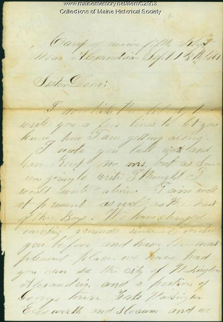 W.B. Adams to sister, Virginia, 1861