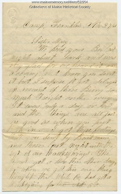 W.B. Adams on Thanksgiving box, Virginia, 1861