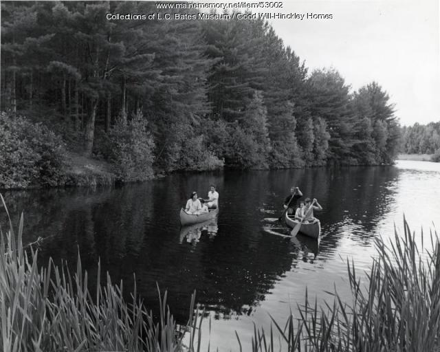 Canoeing on the Kennebec River, Fairfield, ca. 1950