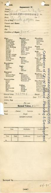 Assessor's Record, 84-184 Fore Street, Portland, 1924