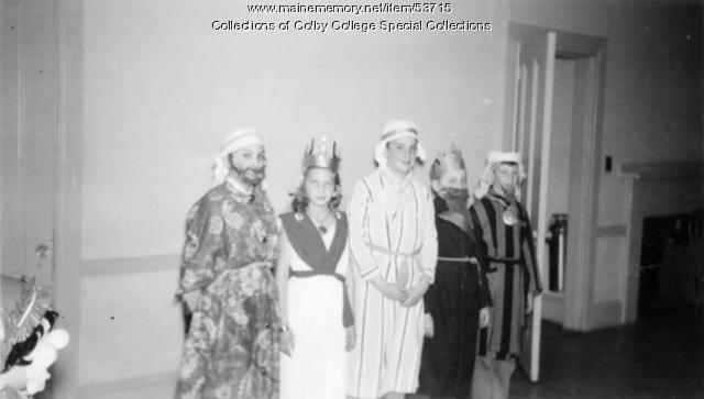 Purim play, Beth Israel, Waterville, ca. 1955