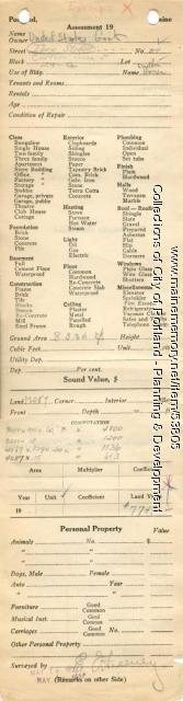 Assessor's Record, 314 Fore Street, Portland, 1924