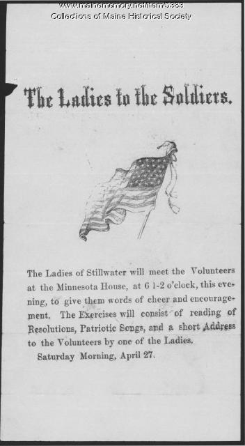 Ladies to the Soldiers, Stillwater, 1861
