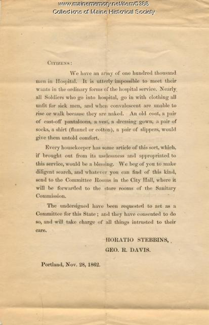 Letter concerning Sanitary Association, 1862