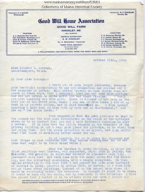 G.W. Hinckley letter on art donation, Fairfield, 1918