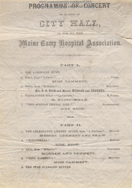 Concert Program, Maine Camp Hospital Association