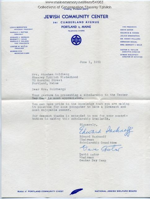 Letter of thanks to Shaarey Tphiloh Sisterhood, Portland, 1951