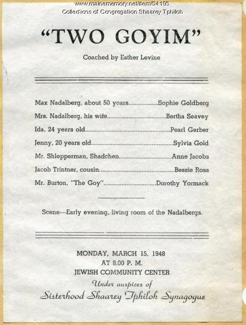 'Two Goyim' program, Portland, 1948