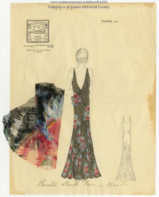 Painted black lace dress, Paris, 1931
