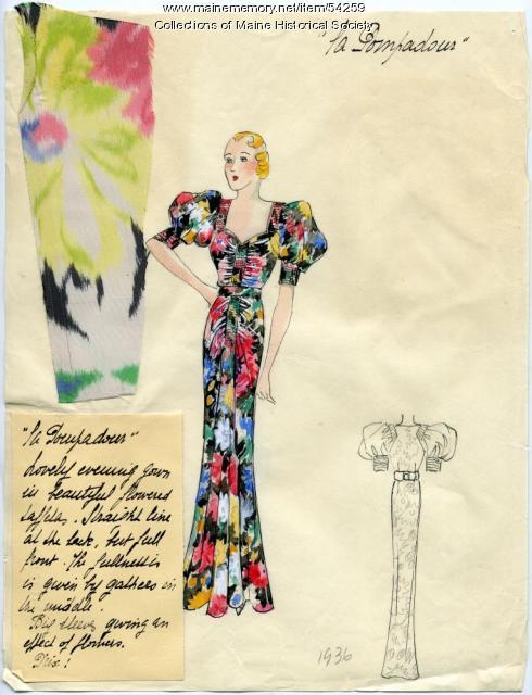 'La Pompadour' dress illustration, Paris, 1936