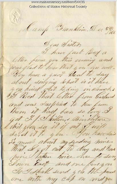 W.B. Adams letter about photographs, Washington, D.C., 1861