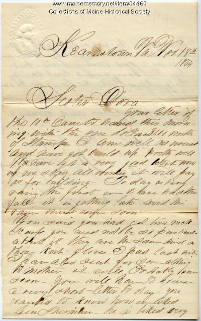 W.B. Adams on Gen. Sherman, Virginia, 1864