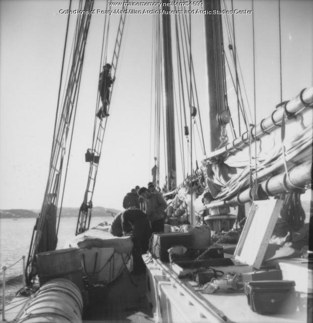 Donald MacMillan in rigging of 'Bowdoin,' 1947