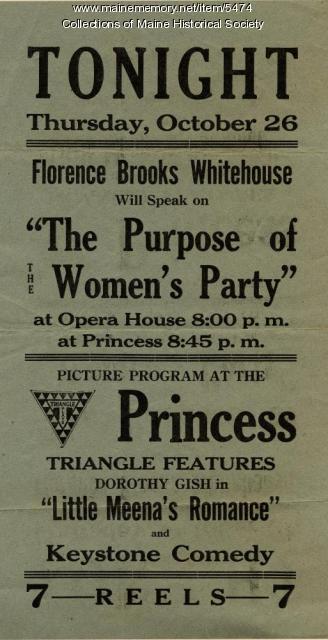 Florence Brooks Whitehouse speech poster, 1916
