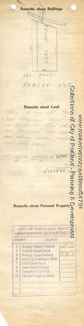 Assessor's Record, 219-225 Forest Avenue, Portland, 1924