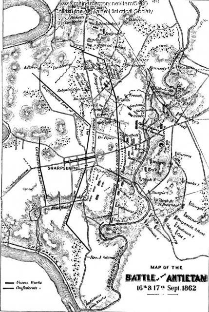 Battle of Antietam map, 1862