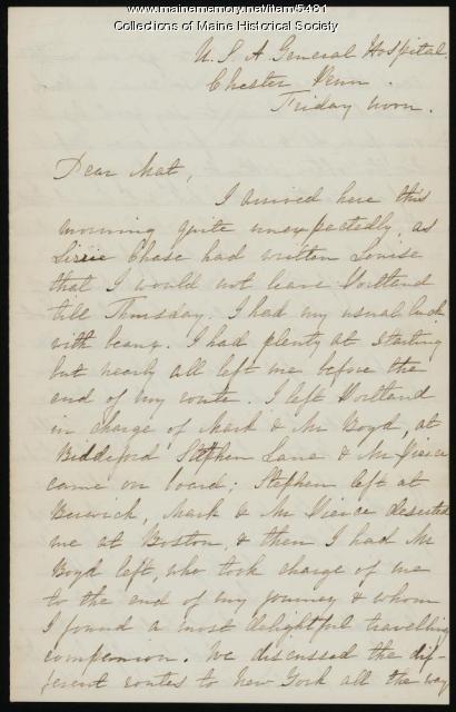 Rebecca Usher on trip to begin nursing work, 1862